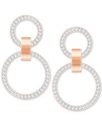 Swarovski - Pavé Double-hoop Chandelier Earrings - Lyst