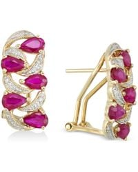 Rare Featuring Gemfields - Certified Ruby (2 Ct. T.w.) And Diamond (1/8 Ct. T.w.) Earrings - Lyst