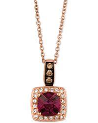 Le Vian - Chocolatier® Raspberry Rhodolite® Garnet (9/10 Ct. T.w.) And Diamond (1/8 Ct. T.w.) Pendant Necklace In 14k Rose Gold - Lyst