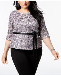 Alex Evenings - Plus Size Sequined Lace Top - Lyst