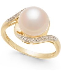 Macy's - Cultured Freshwater Pearl (9mm) & Diamond Accent Ring In 14k Gold - Lyst