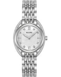 Bulova - Women's Diamond Accent Stainless Steel Bracelet Watch 30mm 96r212 - Lyst