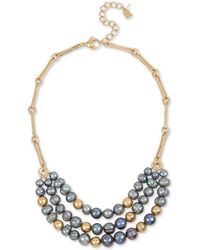 "Robert Lee Morris - Gold-tone Freshwater Pearl (8-12mm) & Bead Statement Necklace, 18"" + 3"" Extender - Lyst"