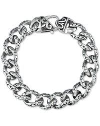 Macy's - Textured Link Bracelet In Stainless Steel & Black Titanium Plate - Lyst