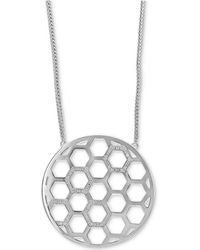 Effy Collection - Diamond Honeycomb Circle Pendant Necklace (1/4 Ct. T.w.) In Sterling Silver - Lyst