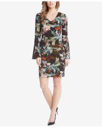 Karen Kane - Printed Bell-sleeve Dress - Lyst