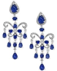 Effy Collection - Effy Sapphire (7-1/2 Ct. T.w.) And Diamond (5/8 Ct. T.w.) Chandelier Earrings In 14k White Gold - Lyst