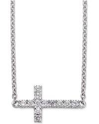 Macy's - Diamond Side Cross Pendant Necklace (1/10 Ct. T.w.) In 14k White Gold - Lyst