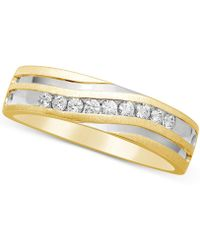 Macy's - Men's Diamond Two-tone Band (1/4 Ct. T.w.) In 10k Gold And Rhodium-plate - Lyst