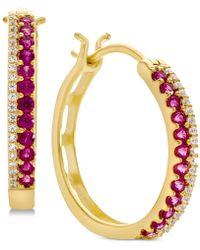 Macy's - Emerald (1/2 Ct. T.w.) & Diamond (1/8 Ct. T.w.) Hoop Earrings (also In Sapphire & Certified Ruby) - Lyst