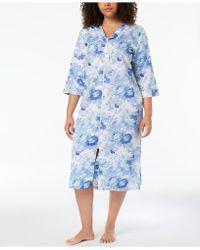 Miss Elaine - Plus Size Woven Sateen Robe - Lyst