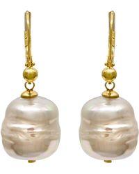 Majorica | 18k Gold Over Sterling Silver Earrings, Imitation Baroque Pearl Drop | Lyst
