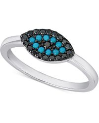 Macy's - Manufactured Turquoise And Black Crystal Evil-eye Ring In Sterling Silver - Lyst