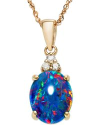 Macy's - 14k Rose Gold Necklace, Opal Triplet And Diamond Accent Pendant - Lyst