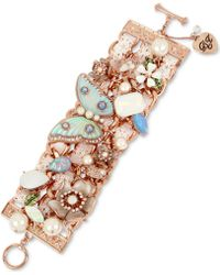 Betsey Johnson - Rose Gold-tone Crystal, Imitation Pearl & Lace Flex Bracelet - Lyst