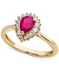 Macy's - Ruby (3/4 Ct. T.w.) & Diamond (1/4 Ct. T.w.) Ring In 14k Gold(also Available In Emerald & Sapphire) - Lyst