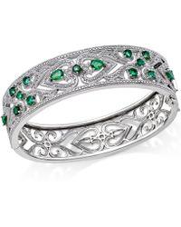 Macy's   Sterling Silver Bracelet, Sapphire (3-3/4 Ct. T.w.) And Diamond (1/4 Ct. T.w.) Heart Bangle   Lyst