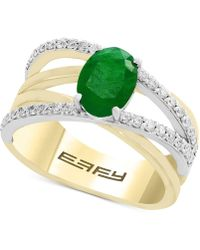 Effy Collection - Final Call By Effy® Emerald (1-1/8 Ct. T.w.) & Diamond (1/3 Ct. T.w.) Crisscross Ring In 14k Gold & White Gold - Lyst
