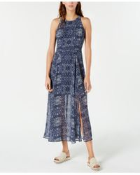 0c1f3b543b4 Lyst - Tommy Hilfiger Printed Overlay Maxi Dress in Blue