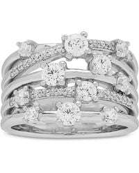 Arabella - Cubic Zirconia Stack-look Statement Ring In Sterling Silver - Lyst