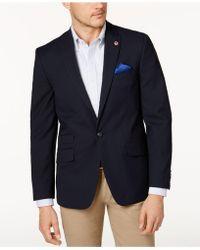 Ben Sherman   Men's Slim-fit Navy Textured Peak Lapel Sport Coat   Lyst