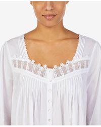 Eileen West Venise Lace Button Front Cotton Robe - White