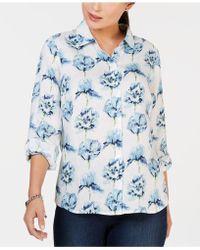 4e5d7a108cf Lyst - Charter Club Plus Size Floral-print Linen Shirt