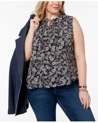 Tommy Hilfiger - Plus Size Printed Ruffle-trim Shell, Created For Macy's - Lyst