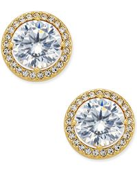 Danori - Gold-tone Cubic Zirconia Framed Stud Earrings - Lyst