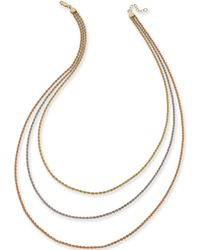 Macy's - Tri-color Triple Rope Chain Necklace In 14k Gold, White Gold & Rose Gold - Lyst