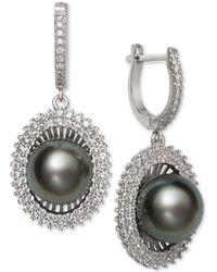 Macy's - Black Cultured Tahitian Pearl (10mm) & Cubic Zirconia Drop Earrings In Sterling Silver - Lyst