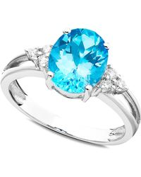 Macy's - 14k White Gold Ring, Blue Topaz (2-3/4 Ct. T.w.) And Diamond (1/10 Ct. T.w.) - Lyst