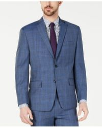 Michael Kors - Classic-fit Airsoft Stretch Light Blue Plaid/windowpane Suit Jacket - Lyst