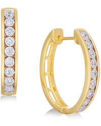 Macy's - Diamond Hoop Earrings (1/2 Ct. T.w.) In 14k Gold-plated Sterling Silver - Lyst