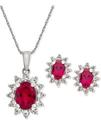 Macy's - Lab Created Ruby (2-3/8 Ct. T.w.) & White Sapphire (1 Ct. T.w.) Pendant Necklace & Stud Earrings In Sterling Silver - Lyst