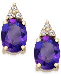 Macy's - Amethyst (2-1/5 Ct. T.w.) And White Topaz (1/5 Ct. T.w.) Stud Earrings In 10k Gold - Lyst