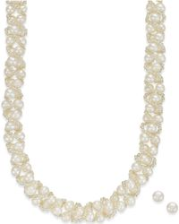 Macy's - Cultured Freshwater Pearl Necklace (4mm) And Stud Earrings (7-1/2mm) Set In Sterling Silver - Lyst