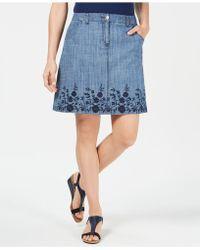 Karen Scott - Embroidered Denim Skirt, Created For Macy's - Lyst
