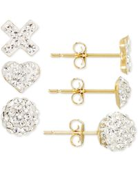 Macy's - 3-pc. Set Pave Crystal Stud Earrings In 10k Gold - Lyst