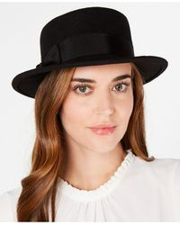 Nine West Wool Felt Small Boater Hat With Bow - Black