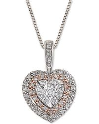 Macy's - Diamond Halo Heart Adjustable Pendant Necklace (1/4 Ct. T.w.) In 14k White & Rose Gold - Lyst