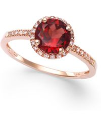 Macy's - Garnet (1-3/8 Ct. T.w.) And Diamond (1/8 Ct. T.w.) Ring In 14k Rose Gold - Lyst