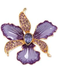 Anne Klein - Gold-tone Colored Crystal Orchid Pin - Lyst