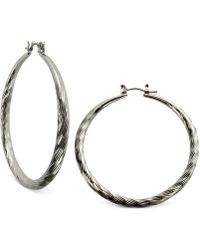 Guess - Silver-tone Textured Hoop Earrings - Lyst