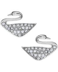 Swarovski - Rhodium-plated Crystal Swan Stud Earrings - Lyst