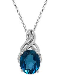 Macy's - London Blue Topaz (4-3/4 Ct. T.w.) And Diamond Accent Twist Pendant Necklace In Sterling Silver - Lyst