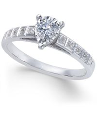 Macy's - Diamond Miracle-plate Pear Shape Engagement Ring (3/8 Ct. T.w.) In 14k White Gold - Lyst