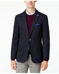 Ben Sherman - Men's Slim-fit Blue Denim Sport Coat With Detachable Black Bib - Lyst