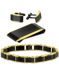 Macy's - Two-tone 3-pc. Set Link Bracelet, Cuff Links & Money Clip In Stainless Steel - Lyst