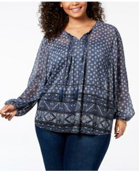 Style & Co. - Plus Size Mixed-print Metallic Peasant Top, Created For Macy's - Lyst
